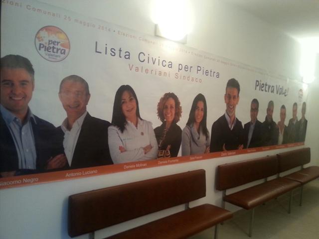 Pietra ligure valeriani inaugura il point elettorale la for Lista punch per la costruzione di nuove abitazioni