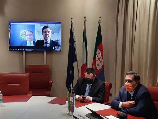 Regione: incontro in videoconferenza tra il presidente Toti e Robert Needham, console generale degli Stati Uniti d'America