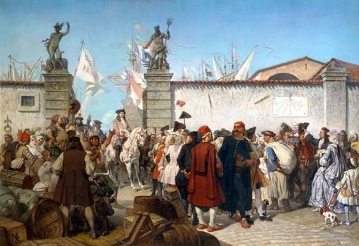 """""""La proclamazione del porto franco di Trieste"""", di Cesare Dall'Acqua, è l'immagine di copertina del libro di Elisabetta Bertolotti"""
