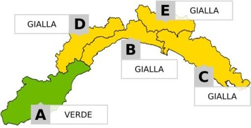 Piogge diffuse su gran parte della Liguria: allerta gialla per temporali su tutta la regione tranne l'estremo ponente