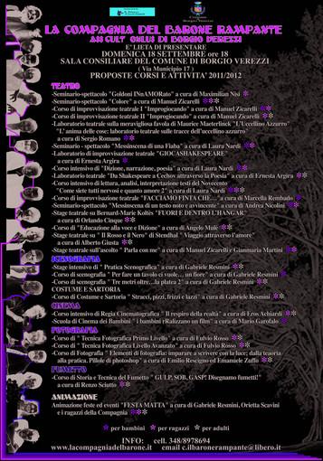Borgio: presentazione corsi e docenti per la Compagnia del Barone Rampante