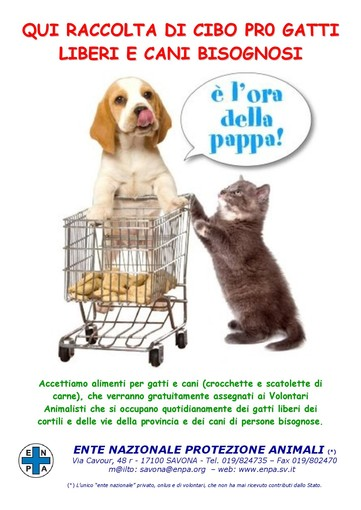 """Con la """"Fase 2"""" riparte la raccolta alimentare di Enpa a favore di cani e gatti"""