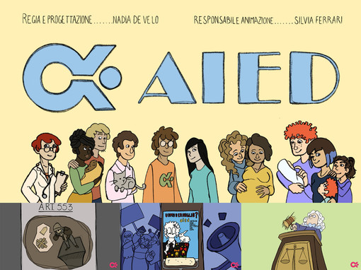 """In apertura di articolo: un frame del cortometraggio di animazione. In fotogallery: alcune campagne """"storiche"""" di AIED"""