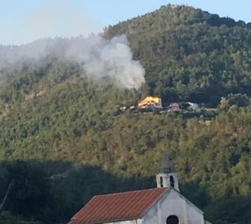 Incendio boschivo ad Orco Feglino: mobilitati i vigili del fuoco (FOTO)