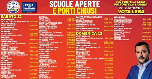 """Agenda elettorale: questo fine settimana gazebo della Lega in tutta la Liguria: """"Scuole aperte e porti chiusi"""""""
