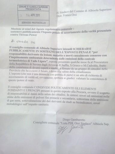 Il coraggio di Diego Gambaretto (PdL): ad Albisola per la Salute e contro il carbone, a sostegno dell'Esposto