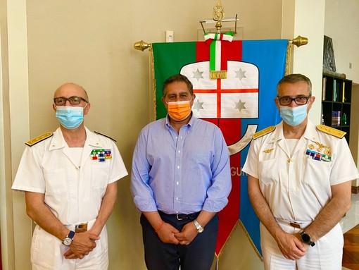 Porto di Genova: il presidente Toti ha incontrato il contrammiraglio Sergio Liardo e l'ammiraglio Nicola Carlone