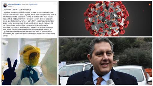"""Coronavirus, l'annuncio del presidente Toti: """"La Liguria arriva a contagi zero!"""""""