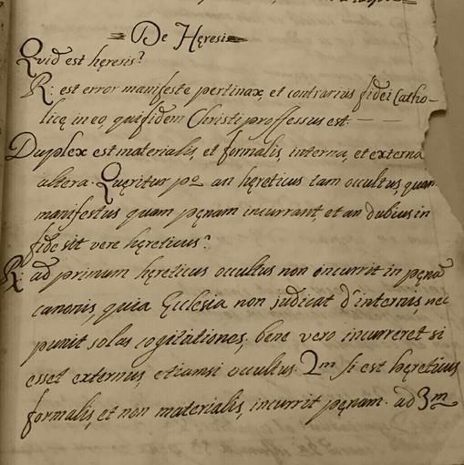 Alle origini della nostra civiltà: un manoscritto del '700 sull'eresia