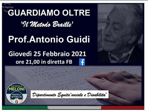 Fratelli d'Italia: videoconferenza del prof. Antonio Guidi in occasione della giornata mondiale del braille