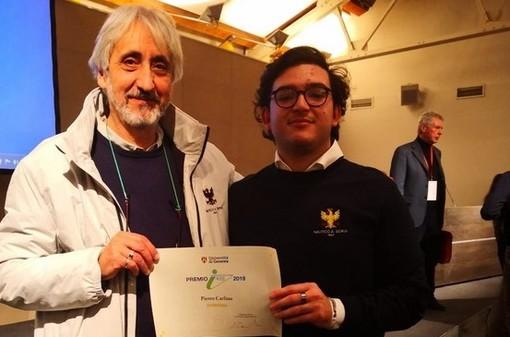 Consegnato il premio 'Iris' dell'Università di Genova allo studente alassino Pietro Carlino