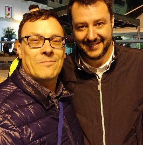 Roberto Paolino (segretario dalla Lega Finale-Pietra) con Matteo Salvini