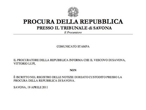 La Procura di Savona smentisce: Il Vescovo Lupi NON è iscritto nel registro degli indagati