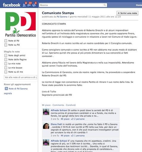 Arresti a Savona: i commenti dalle pagine PD su Facebook