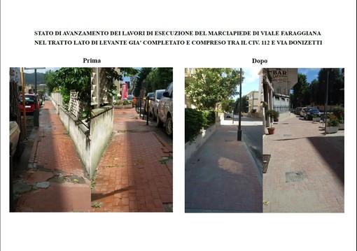 Albissola Marina, riprendono i lavori di restyling dei marciapiedi di viale Faraggiana