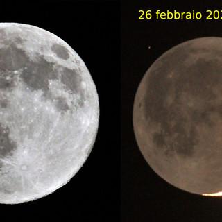 """Ugo Ghione: """"Foto della SuperLuna di ieri sera da me fotografata e confrontata con la Luna dell'o scorso 26 febbraio"""""""