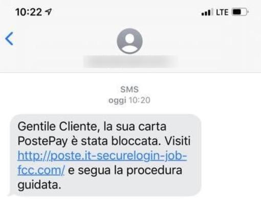 Anche nella nostra provincia arrivati molti sms con un tentativo di truffa 'smishing': non cliccate sul link