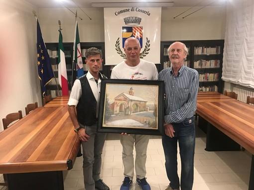 Cosseria, il pittore Giancarlo Pizzorno omaggia il Comune con un suo nuovo quadro