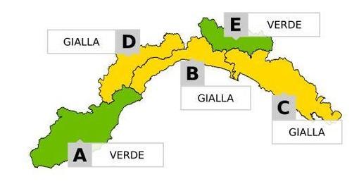 Annuncio dell'Arpal: dalle 20 di questa sera sulla Liguria zone di allerta meteo gialla per temporali