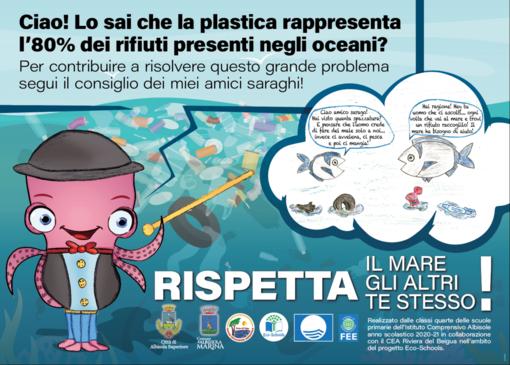 """Inaugurati i pannelli sul tema """"plastic free"""" nelle spiagge libere di Albisola Superiore e Albissola Marina"""