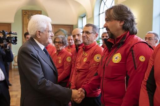 Il presidente regionale del CNSAS Fabrizio Masella col Presidente della Repubblica Sergio Mattarella
