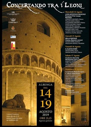 """Albenga, """"Concertando tra i Leoni"""": variazione al programma di questa sera"""