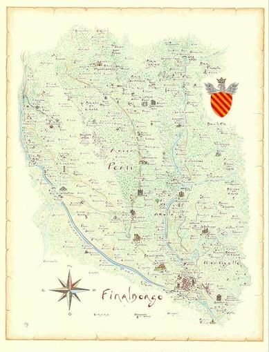 Nella foto: la cartina storica di Finalborgo realizzata da Giovanni Pazzano