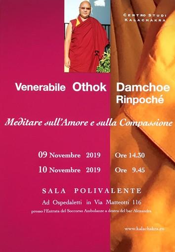 """Ospedaletti: il 9 e 10 novembre, presso la Sala Polivalente si terranno due conferenze dedicate al """"Meditare sull'Amore e Compassione"""""""