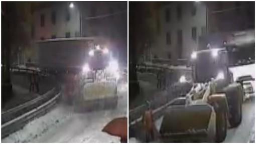 Neve in Val Bormida: due camion bloccati a Roccavignale sulla Sp28 bis