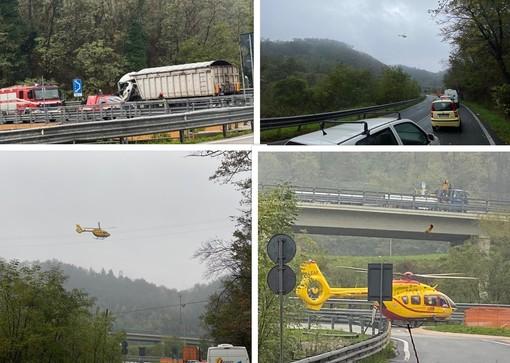 Camion contro rotonda ad Altare: camionista recuperato da elisoccorso in codice rosso