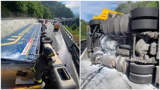 Incidente sulla A6, camion si ribalta all'interno di un cantiere tra Millesimo e Ceva: autostrada chiusa (FOTO e VIDEO)