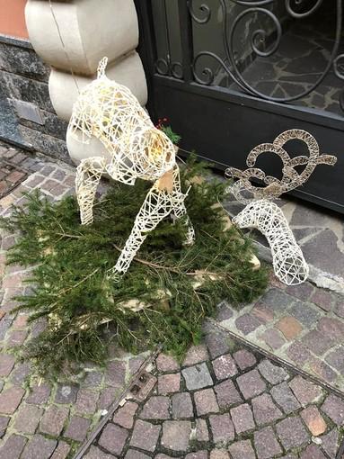 """Distrutte decorazioni natalizie nel centro di Carcare, sindaco De Vecchi: """"Indagini avviate, non escludiamo applicazione del Daspo"""" (FOTO)"""