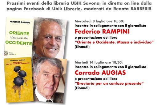 Eventi Ubik in diretta on line: l'8 luglio con Corrado Augias e il 14 luglio con Federico Rampini