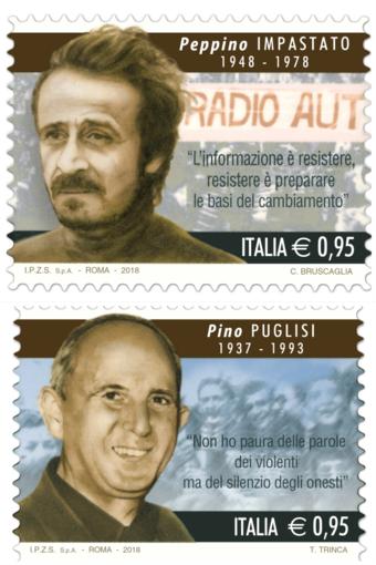 Lotta alla mafia: emessi due francobolli dedicati a Peppino Impastato e Giuseppe Puglisi
