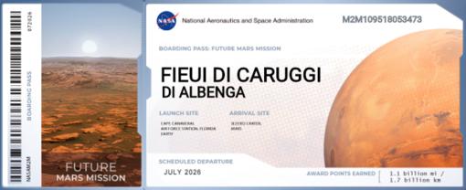 Fieui dei Caruggi su Marte, c'è già il pass: appuntamento al 2026