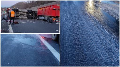 Camion ribaltato su A6: l'asfalto ghiacciato la possibile causa (FOTO)