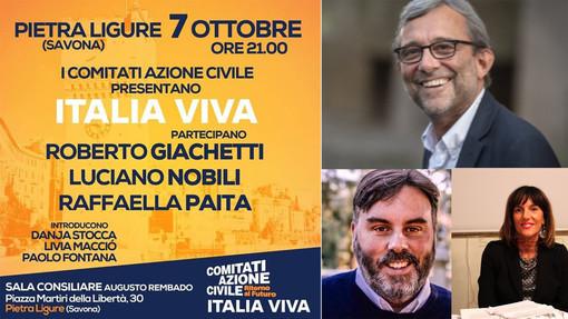 """Lunedì 7 ottobre """"Italia Viva"""" approda a Pietra Ligure"""