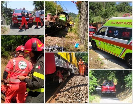 Savona, scontro tra carrelli ferroviari in località Santuario: un ferito al Santa Corona (FOTO)