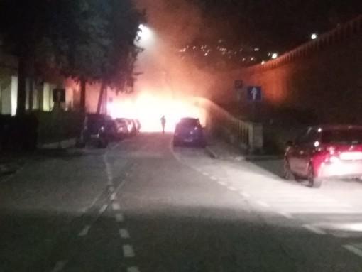 Albisola, a fuoco 4 auto e un albero in via Sisto IV: intervento dei vigili del fuoco