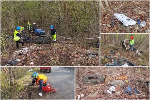 Raccolta rifiuti abbandonati: servizio coordinato dei gruppi di Protezione civile di Plodio e Carcare (FOTO e VIDEO)