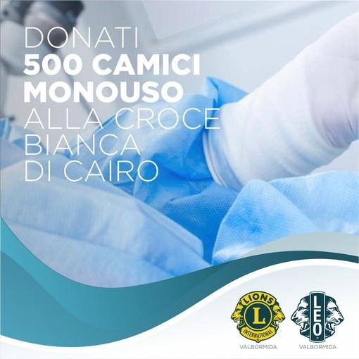 Cairo, Lions e Leo Club Valbormida donano 500 camici monouso alla Croce Bianca