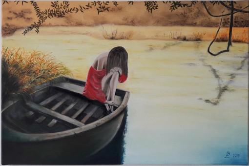 Lucia Bracco, Solitudine, ragazza sul fiume, 2019, olio su tela, cm. 40 x 60