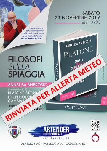 Alassio: rinviata per maltempo la presentazione del libro su Platone