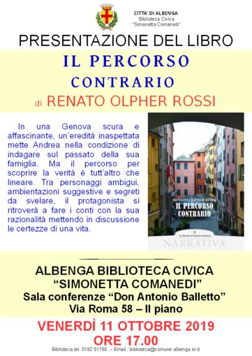 """Albenga, in biblioteca la presentazione del libro: """"Il percorso contrario"""""""