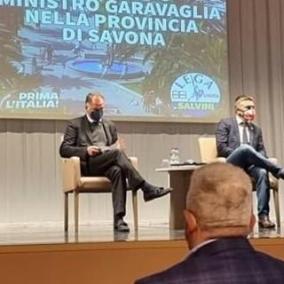 Loano, visita del Ministro Garavaglia: ad accoglierlo alcuni operatori del settore turistico e gli amministratori del Carroccio della provincia di Savona