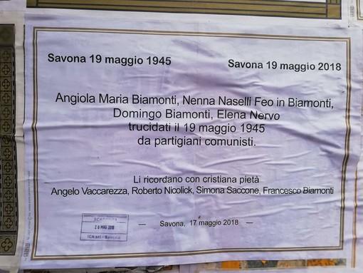 Savona: manifesti mortuari per l'uccisione della famiglia Biamonti