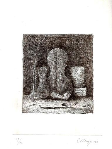 Eso Peluzzi, Violini, 1982, acquaforte, esemp. N. 17/50, opera firmata, cm. 35 x 25 (il foglio), (coll.priv.)