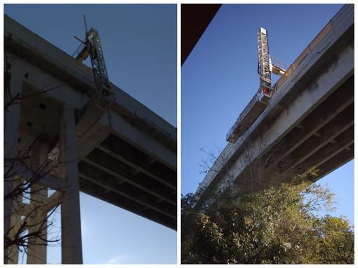 Celle, dopo l'intervento sul viadotto Lavadore, carroponte di Autostrade al lavoro sul viadotto Costa