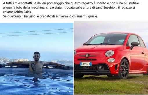 Genova, giovane scomparso da 24 ore, l'appello dei familiari, l'auto ritrovata sulle alture di Sant'Eusebio