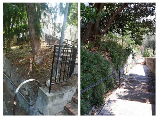 Savona, lavori di pulizia straordinaria delle aree verdi della scalinata Assereto